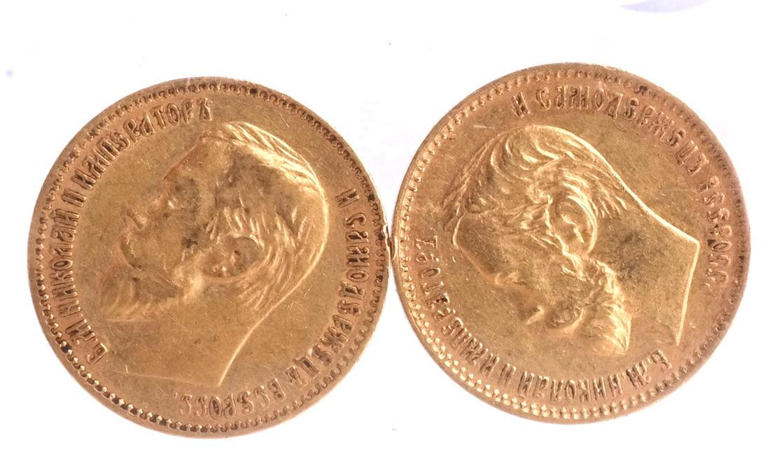 2 Russian 5-Ruble gold, 1898, 1900