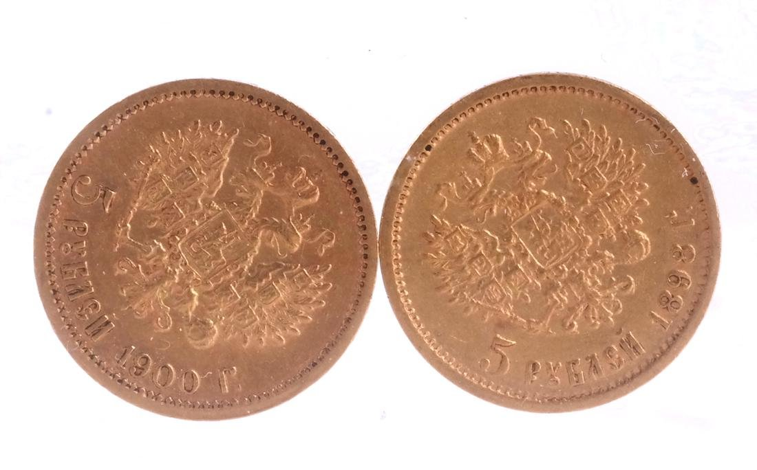 2 Russian 5-Ruble gold, 1898, 1900 - 2