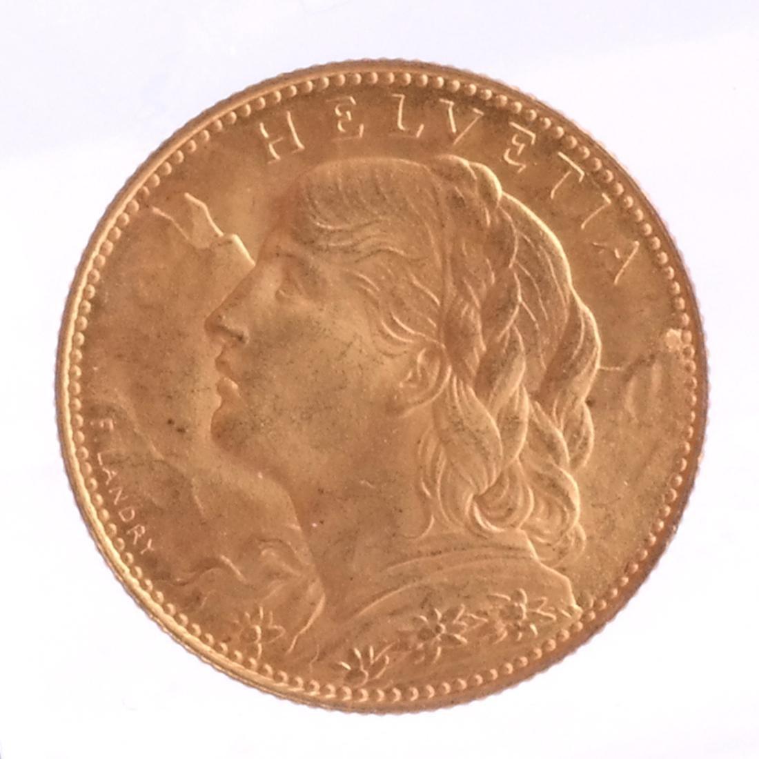 1915-B 10 Francs Swiss Gold
