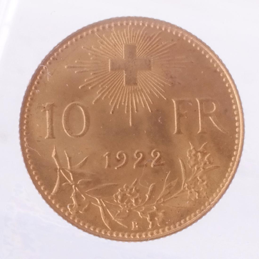 1915-B 10 Francs Swiss Gold - 2