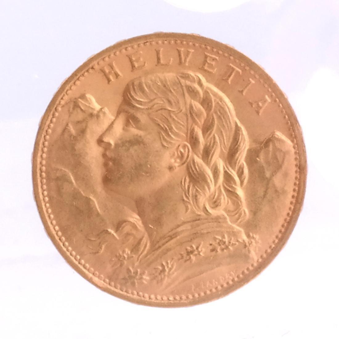1922-B 20 Francs Swiss Gold