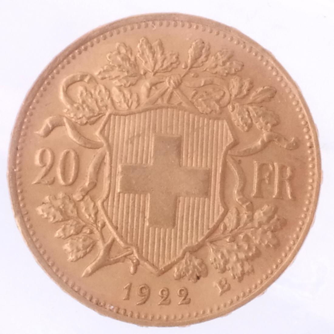 1922-B 20 Francs Swiss Gold - 2