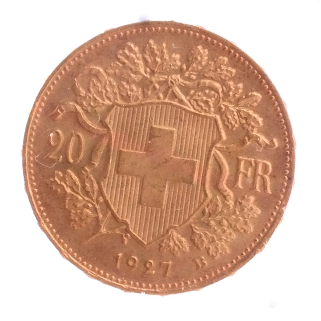 1927-B 20 Francs Swiss Gold - 2