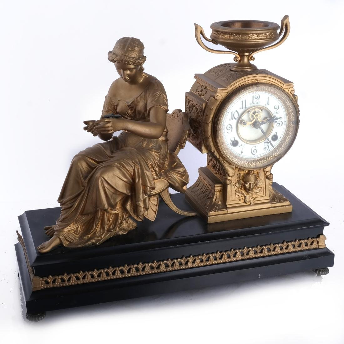 White Metal Figural Clock