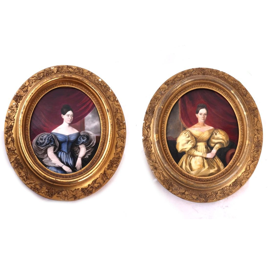 Pair of Porcelain Plaques of Women