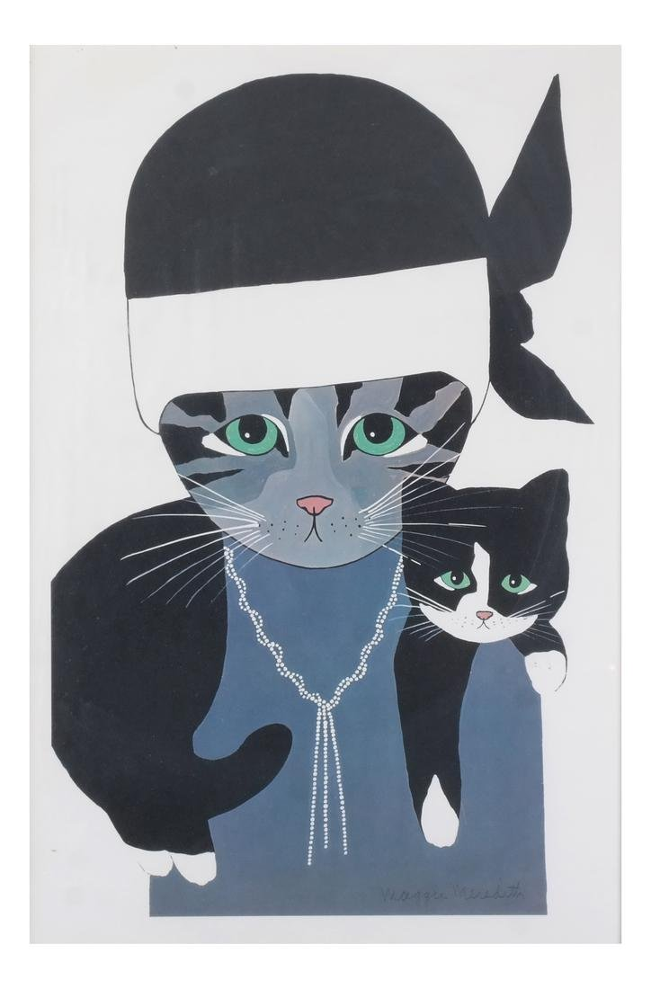 Maggie Meredith: Two Cats, Watercolor