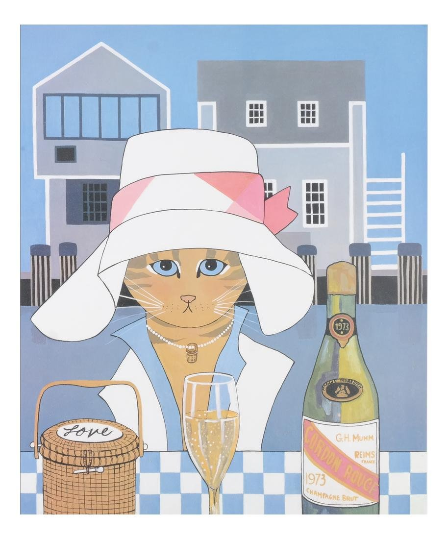 Maggie Meredith: Cat and Wine, Lithograph