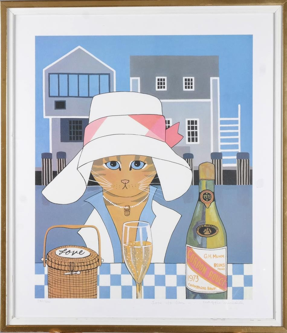 Maggie Meredith: Cat and Wine, Lithograph - 2