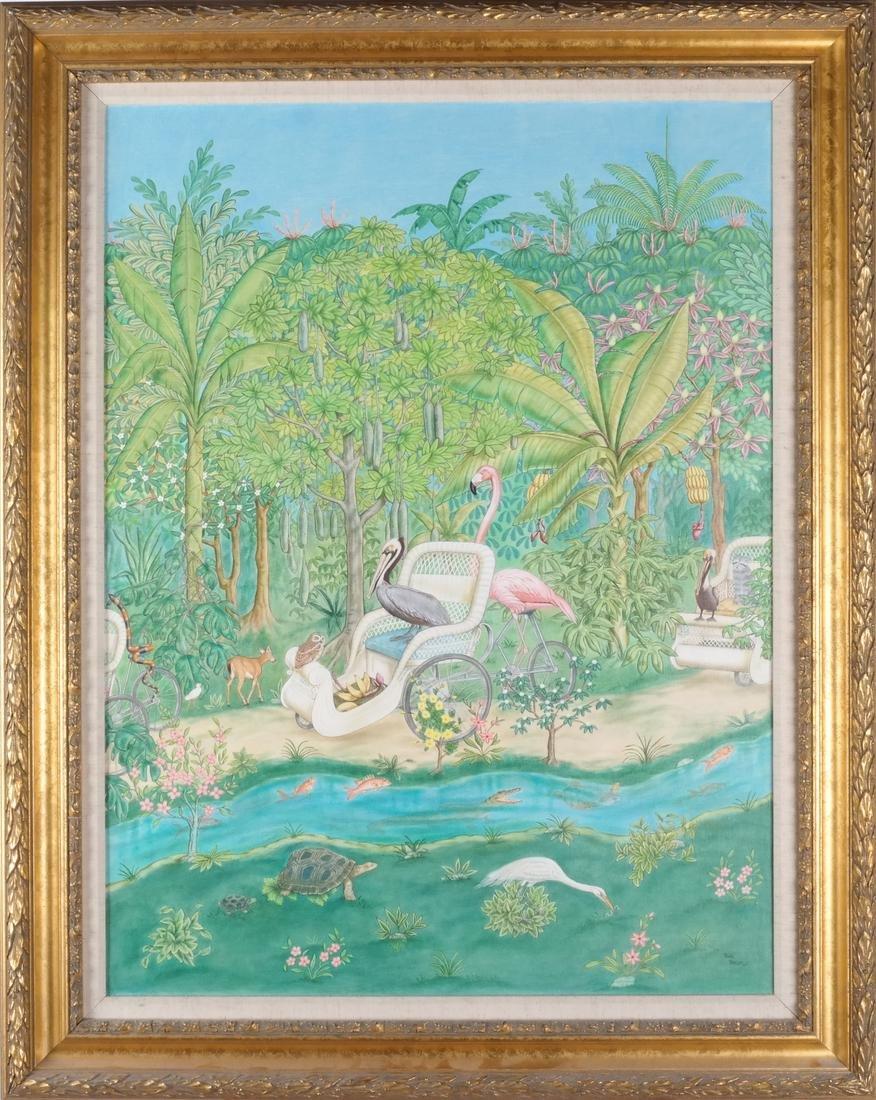 Jane Taylor: Island Flamingos, Oil on Canvas