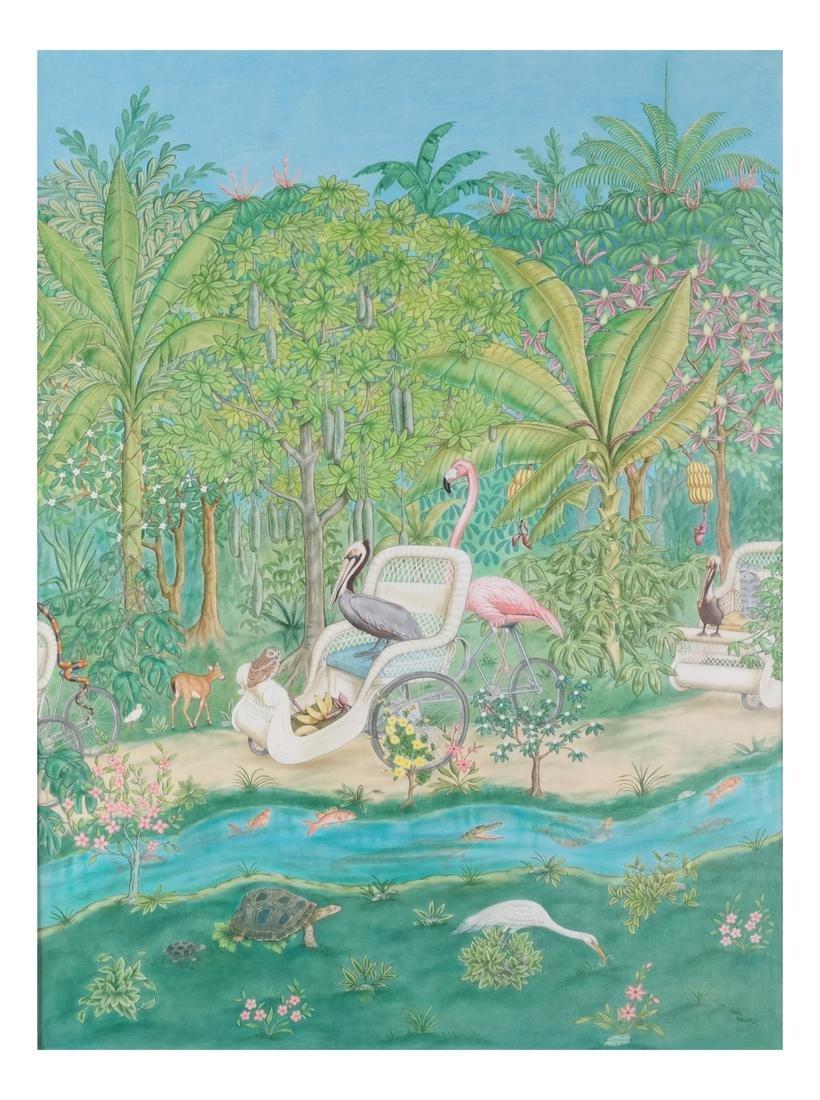 Jane Taylor: Island Flamingos, Oil on Canvas - 2