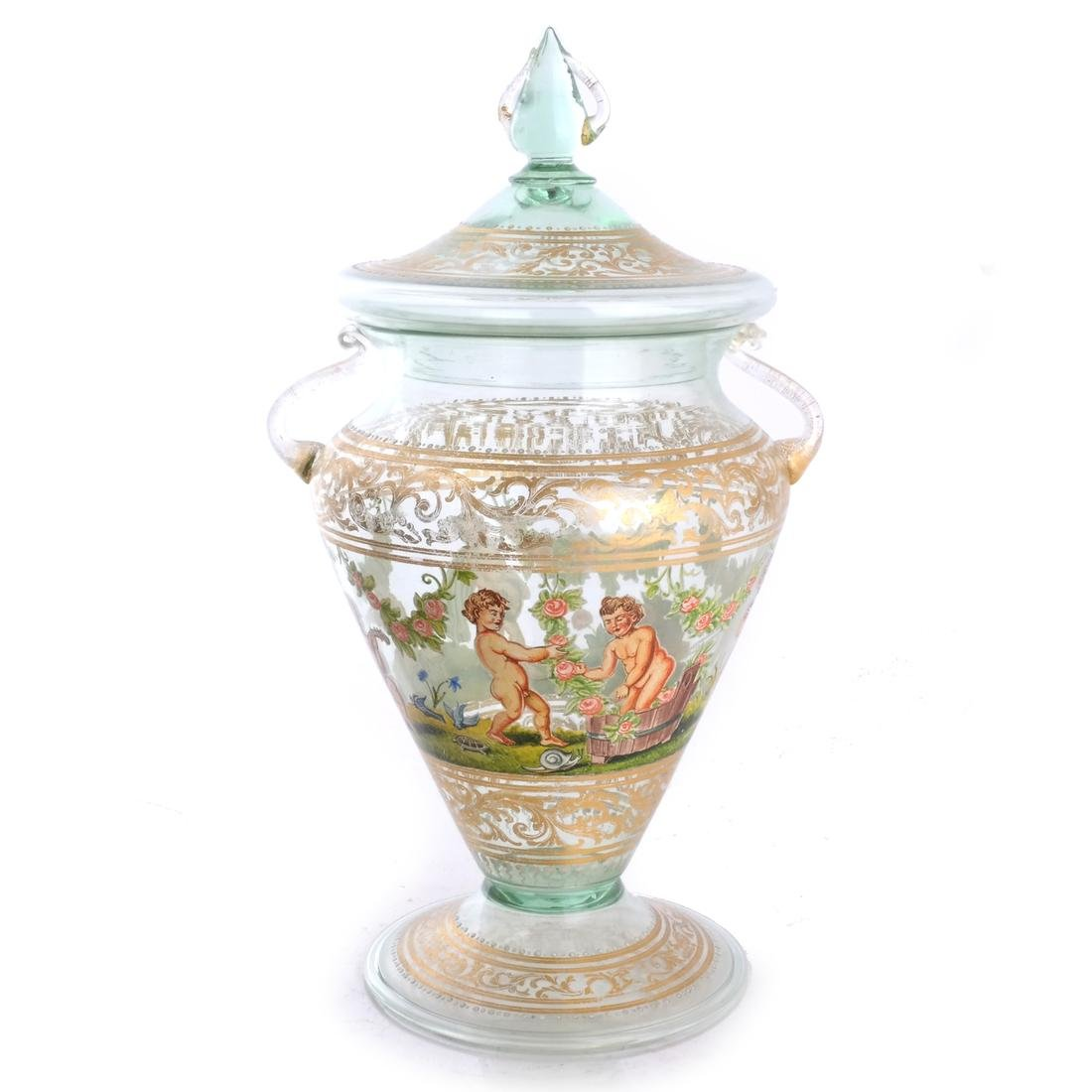 Venetian Overlay Covered Glass Jar