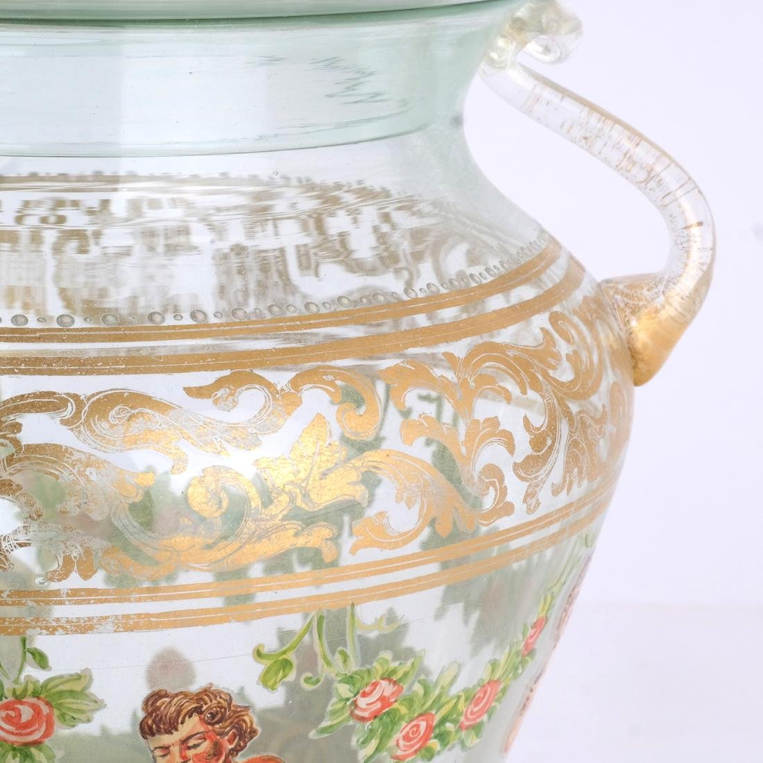Venetian Overlay Covered Glass Jar - 4