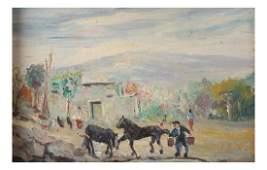 Farm Scene, Figures, Horses - O/C