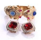 Ciner Frog Bangle & Panetta Earrings