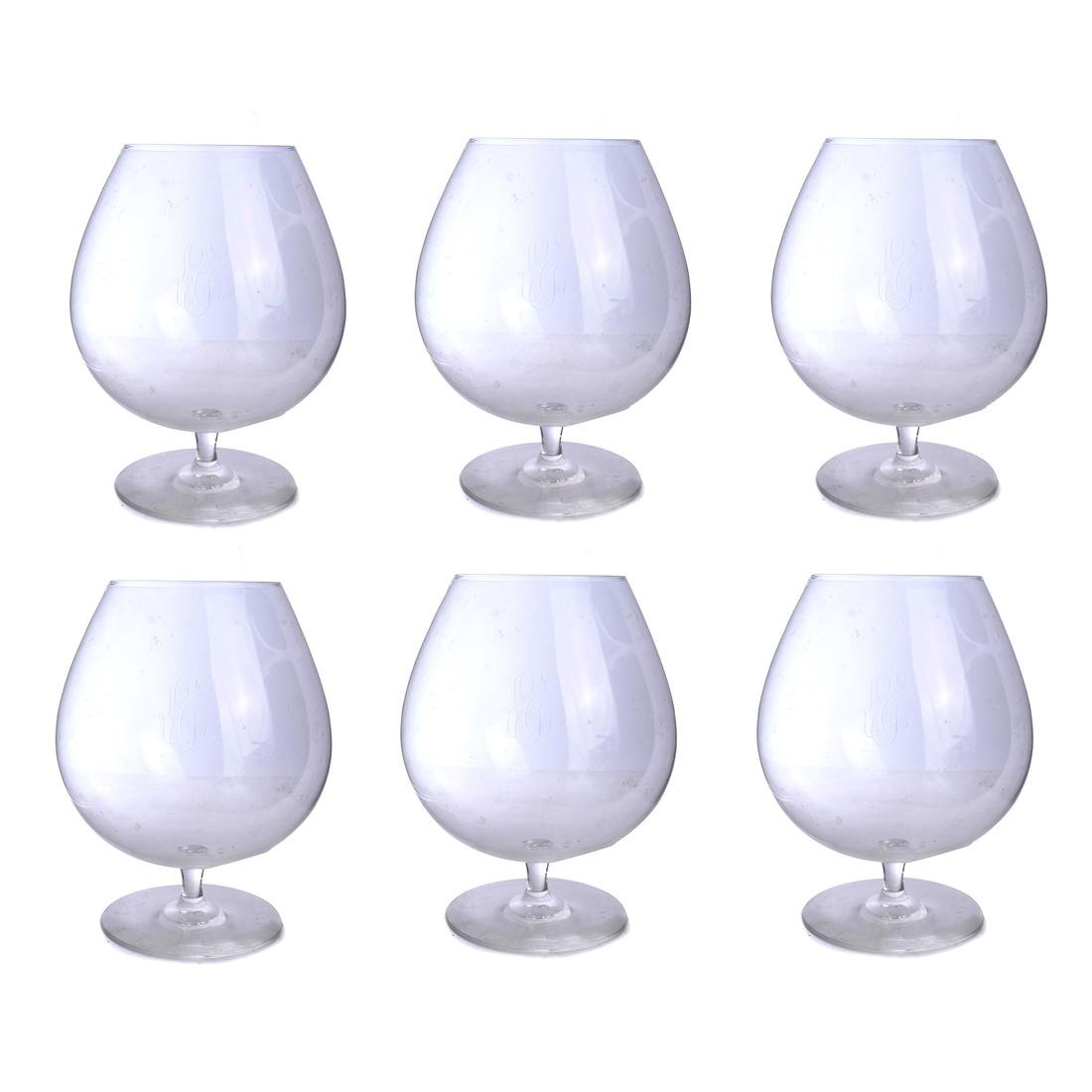 Six Large Crystal Wine Glasses