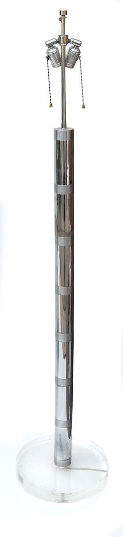 Modern Chrome & Lucite Floor Lamp
