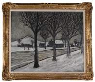 Phillipe Marchand Winter Scene Oil on Canvas