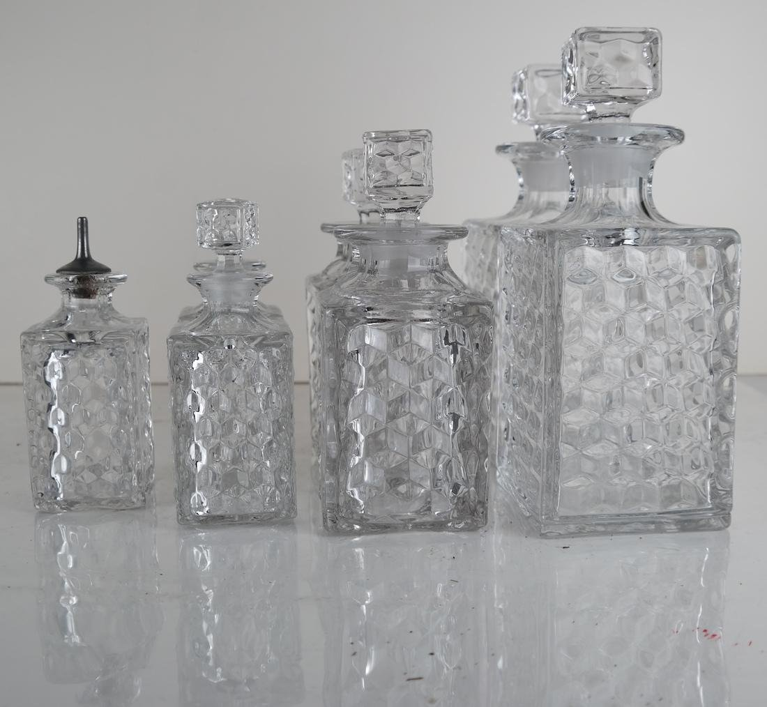 Seven Glass Crystal Decanters - 3