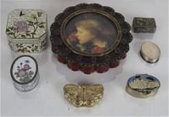 6 Silver Enamel and Cloisonne Boxes