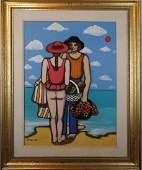 Elke SOMMER: Figures on Beach - O/C
