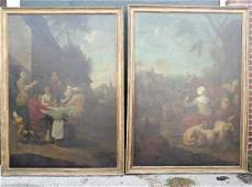 Pair of Monumental 19th C Oil Paintings Landscapes