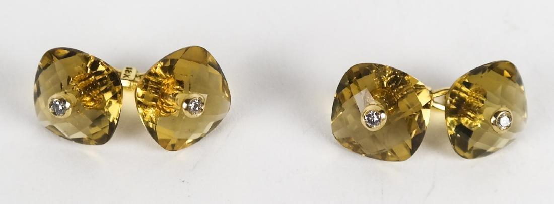 Pair Men's 18k Gold, Citrine & Diamond Cufflinks