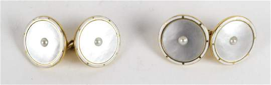 Pair Mens 18k Gold and Pearl Cufflinks