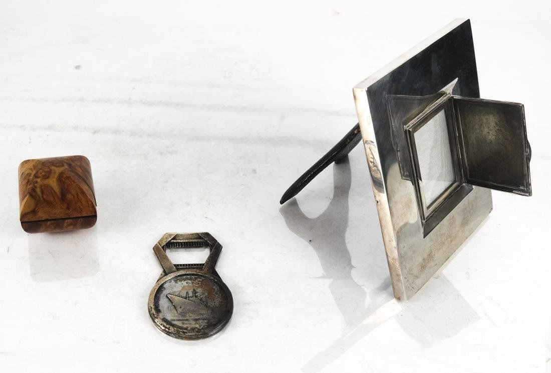 3 Items Including Miniature Covered Burlwood Box