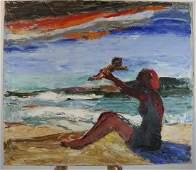 Edith BRY: Figures on a Beach - Oil Painting