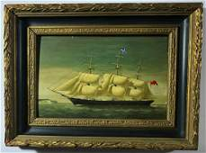 Antique Oil Painting Sailing Ship, Signed 'J.B.'