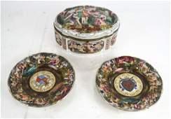 French Box and Two Capo di Monte Plates