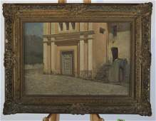 Italian Courtyard Scene  Oil on Canvas