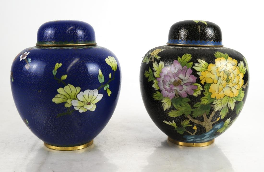 Pair Chinese Cloisonne Covered Ginger Jars