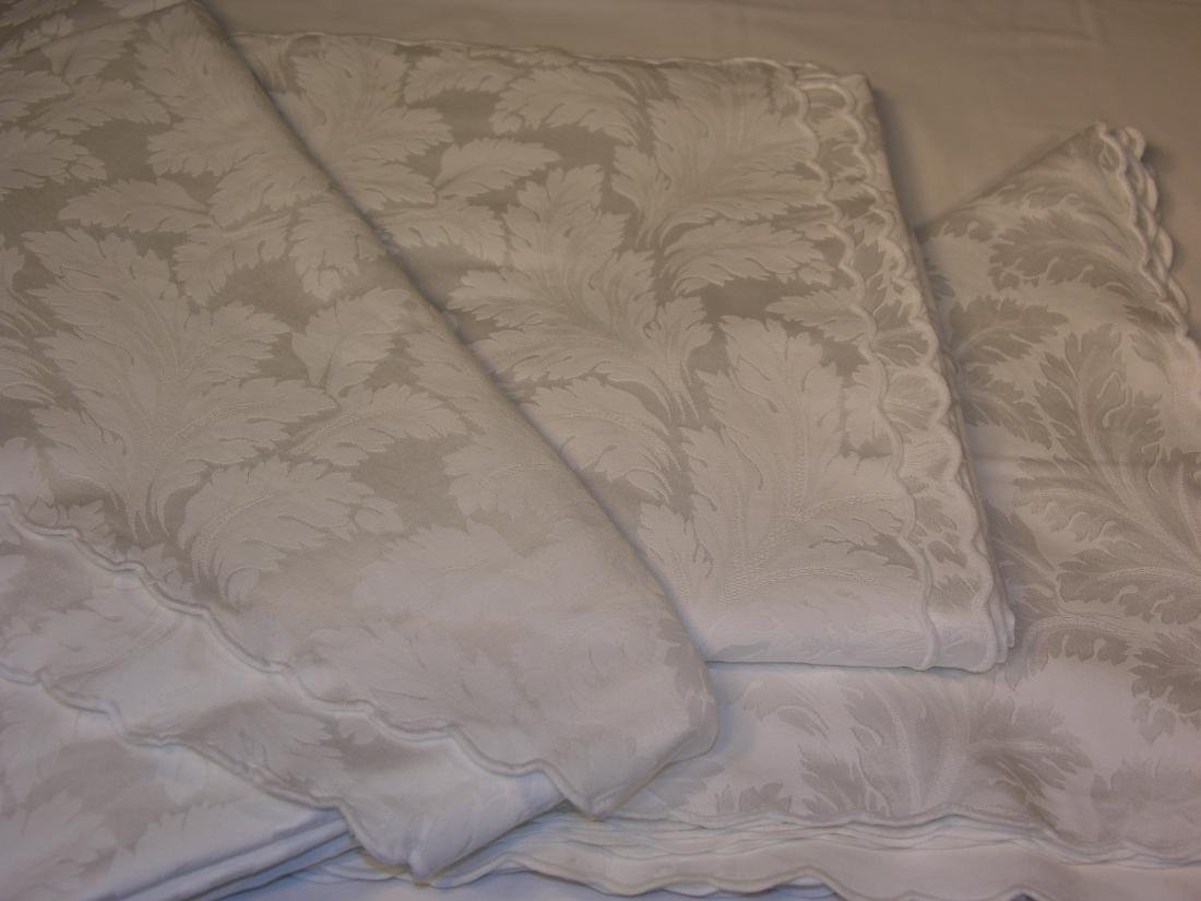 Two Vintage White Acanthus Leaf Tablecloths