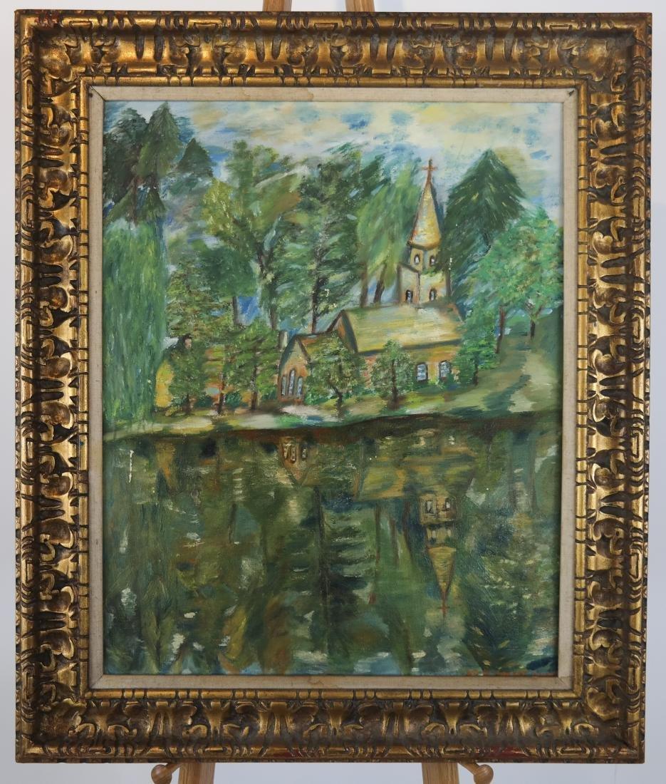 Village Scene, Reflected - Oil on Canvas