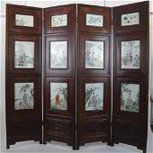 Chinese Antique Porcelain Inset Screen