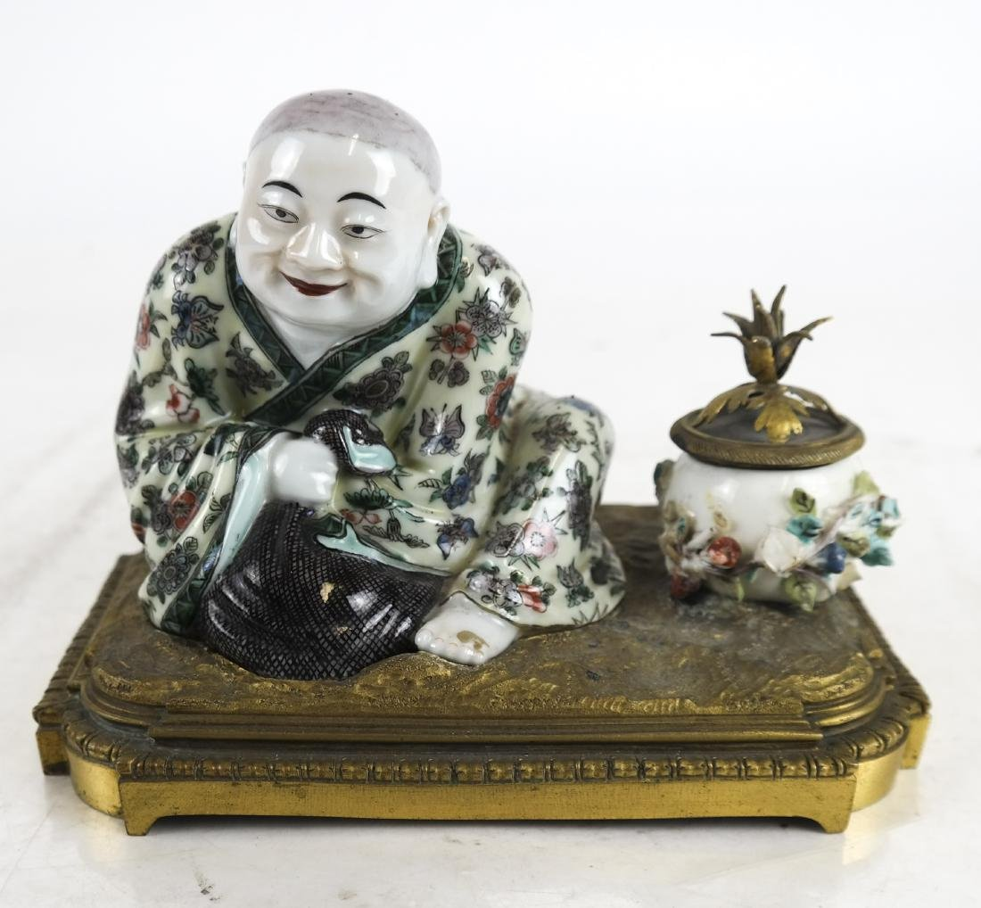 Chinese Figural Inkwell, Bronze Pencils