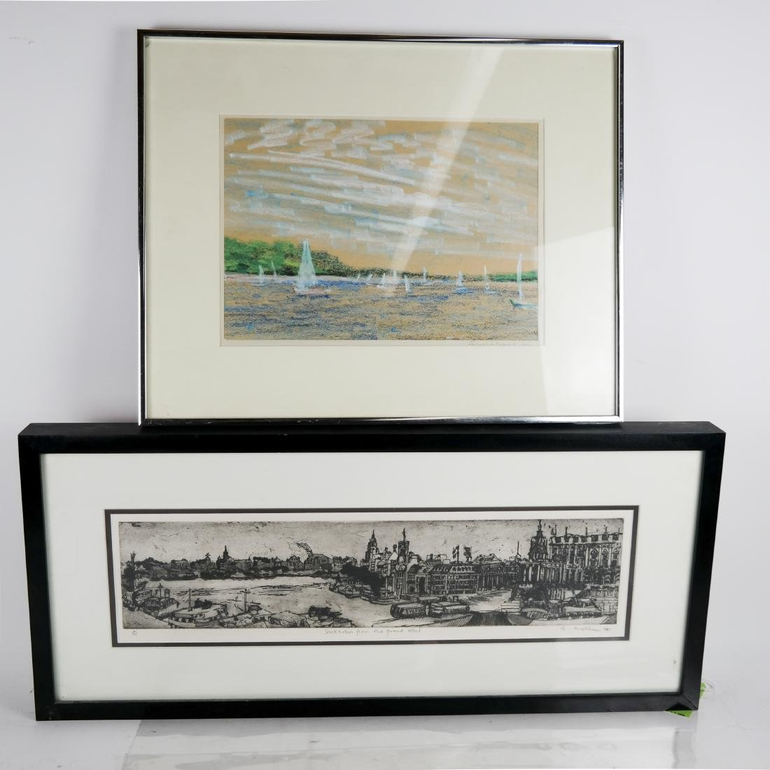 2 Framed Works - Sailing (Pastel) & City (Print)