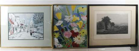 Two Prints & An Abstract Floral Oil on Canvas