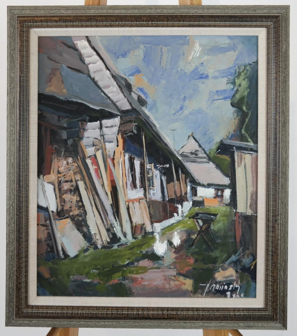 Jozef KAMINSKY: Rural Village Scene - Oil on Panel