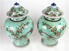 Pair of Chinese Ceramic Lidded Ginger Jars