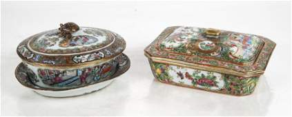 Two Famille Rose Porcelain Covered Boxes