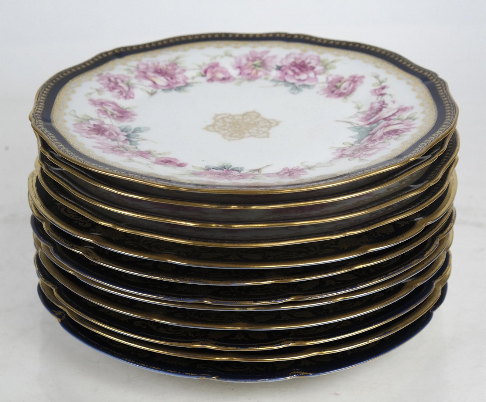 French limoges porcelain side or tea plates 10 gold and black decorated dessert plates