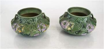 Pair of Roseville-Style Pottery Vases
