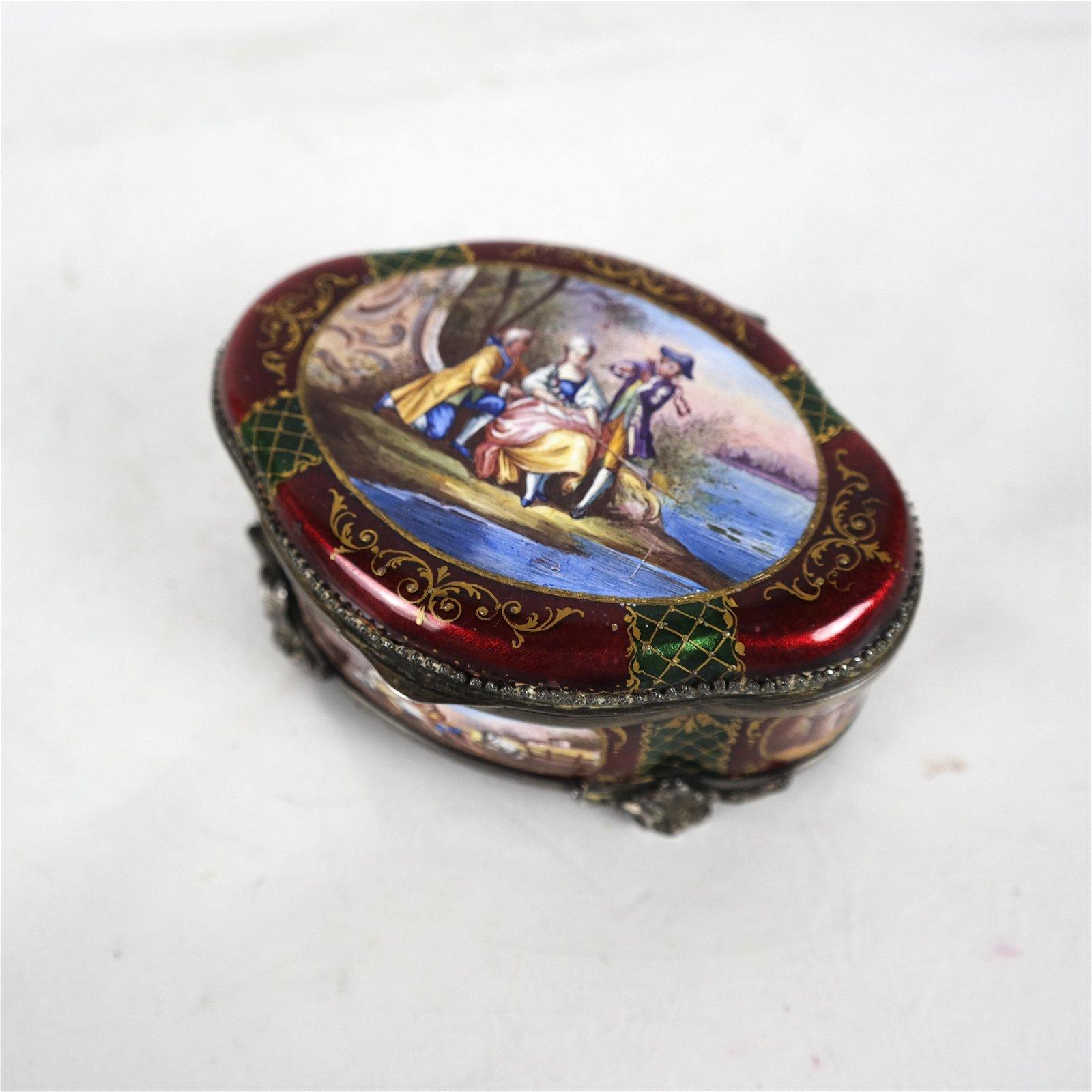 Royal Vienna Porcelain Enamel Hinged Box