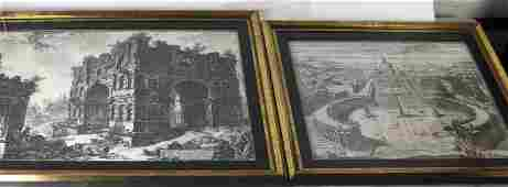 PIRANESI:  Two Engravings - S. Pietro and Ruins