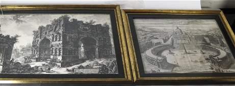 PIRANESI: Two Engravings - S. Pietro and Ruins