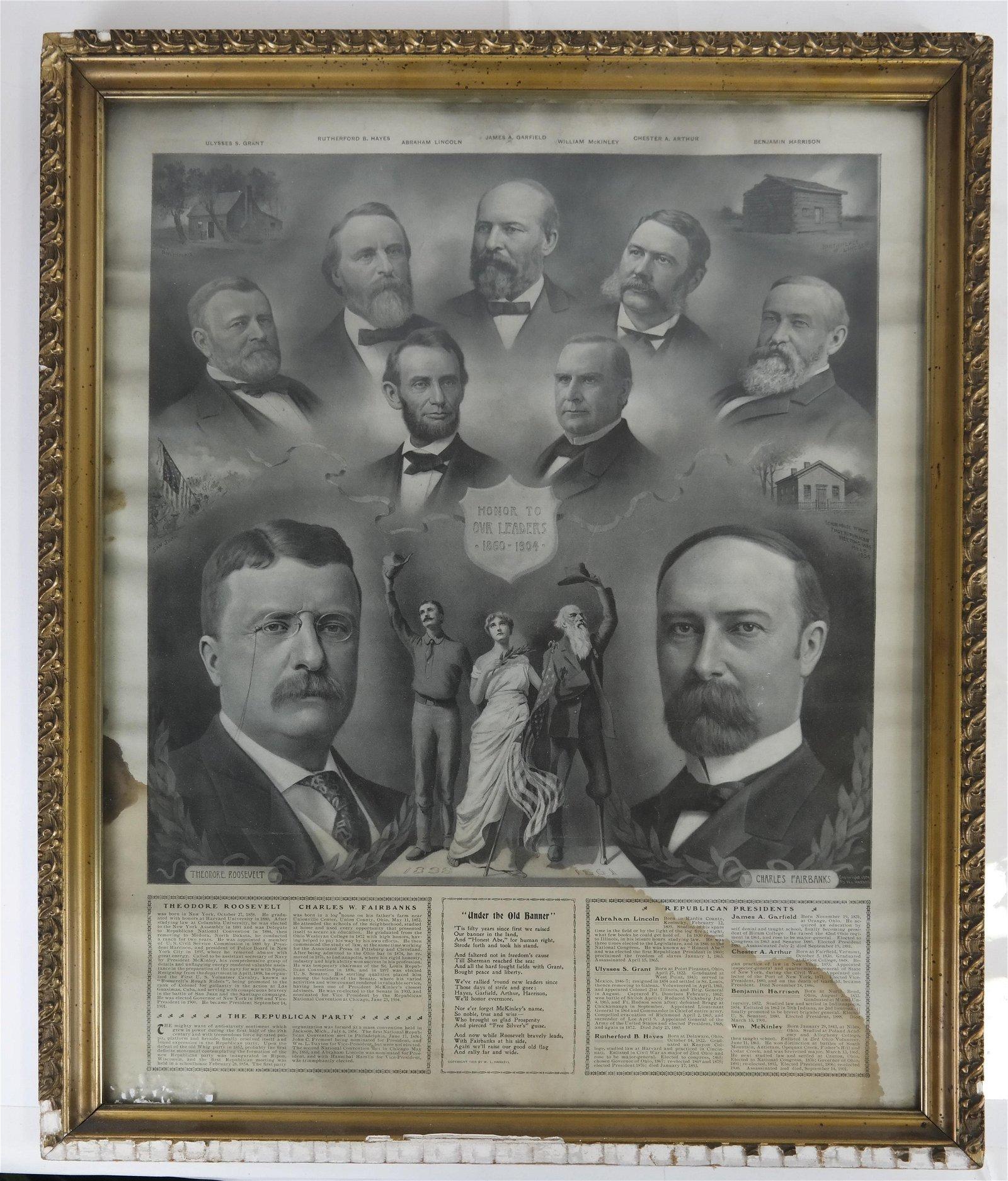 T. Roosevelt & C. W. Fairbanks 1904 Jugate Bandana