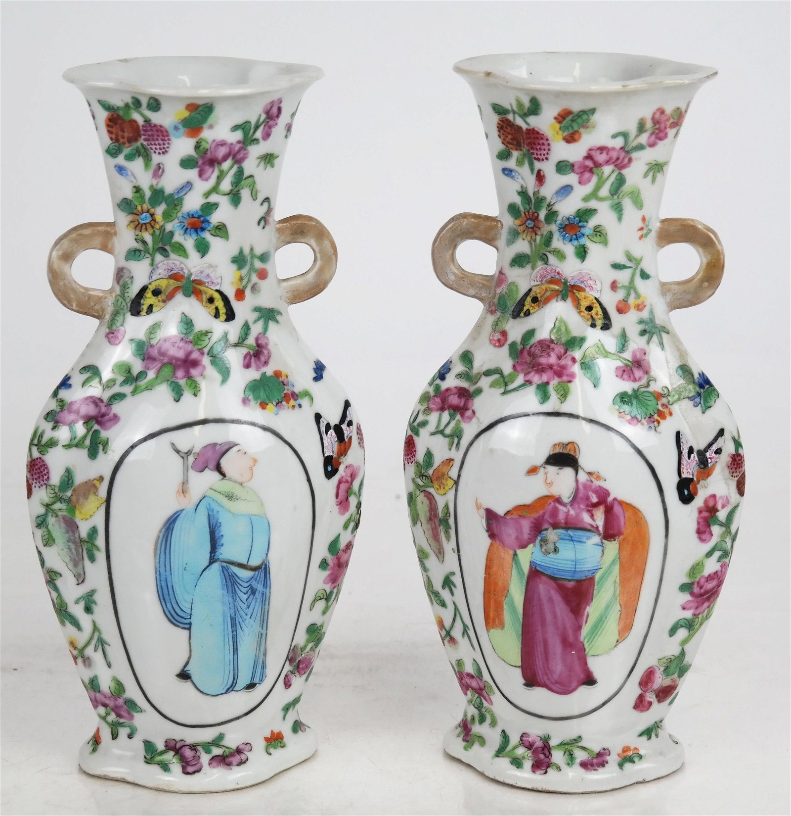 Pair Chinese Qing Dynasty Spade Form Vases