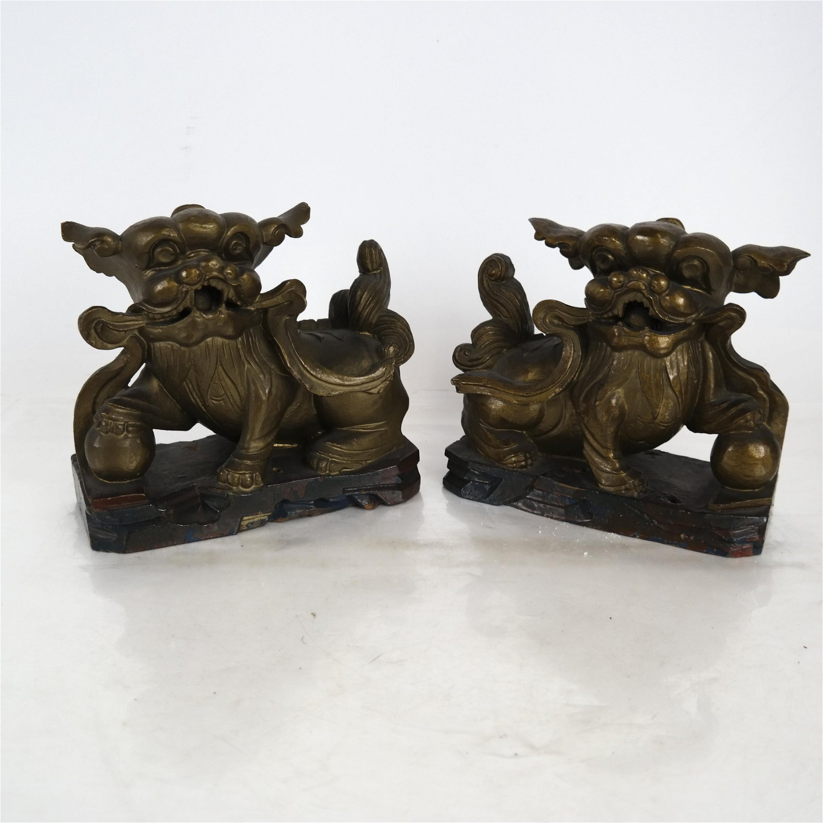 Pair Carved Wood Painted Foo Dogs Bookends